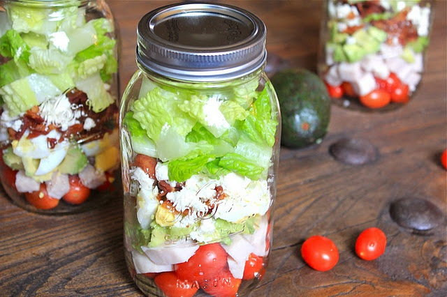 Cobb Salad In A Jar             1 pint cherry tomatoes           6 slices, turkey bacon- cooked.           8 ounces turkey deli meat or chicken breasts           1 to 2 avocado           crumbled blue cheese or feta           3 hard boiled eggs           romaine lettuce             Dressing           3 tablespoons red wine vinegar           2 tablespoons olive oil           1 teaspoon dijon mustard            salt and pepper.               All you have to do is layer the salad in the jar and…