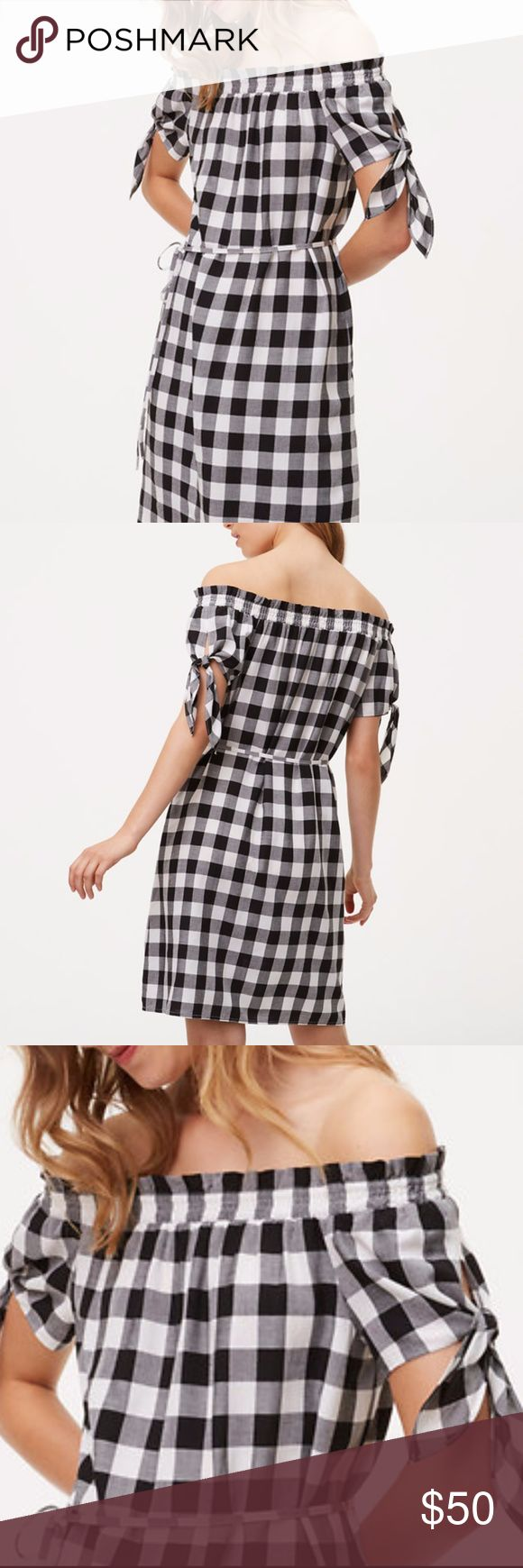 Ann TAYLOR GINGHAM Black & White of Shoulder DRESS Only worn one time ;-)  So Adorable & Comfy!  GINGHAM Black & White TIE of Shoulder DRESS   Size: XSP  Perfect Condition  Thanks for looking Ann Taylor Dresses Mini