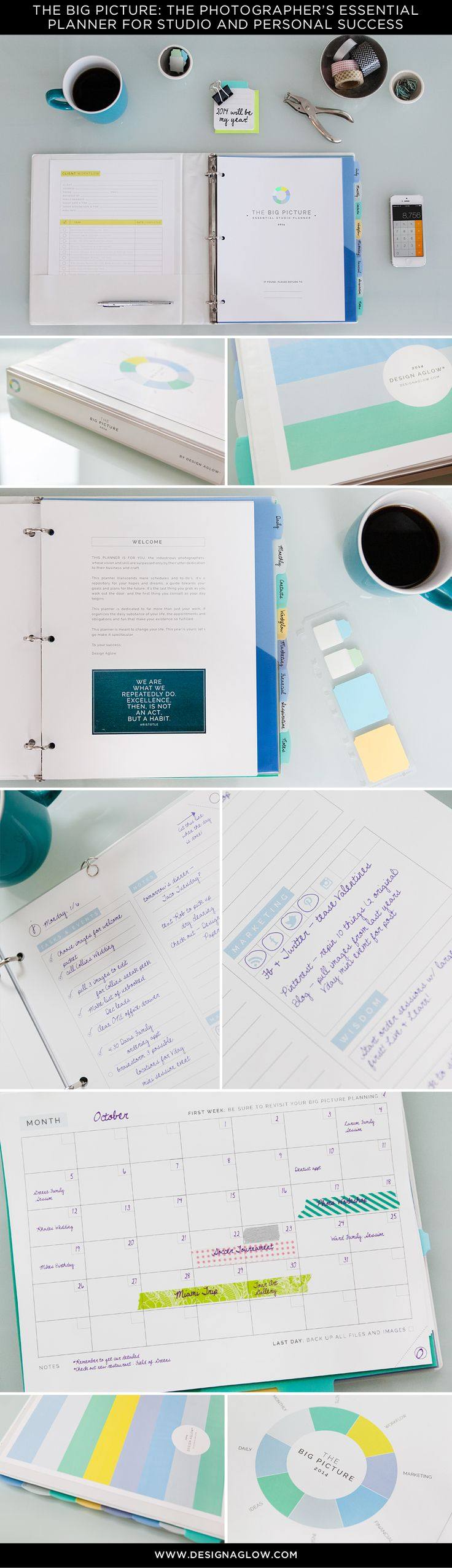 The Big Picture: An Essential Planner for Studio and Personal Success. You can write in your own dates, so it's perfect year after year! #designaglow