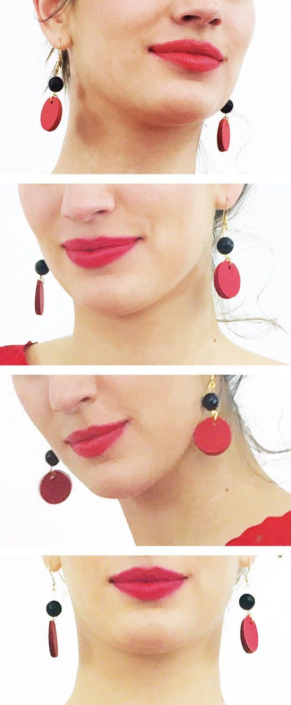 Orecchini neri e rossi, orecchini pendenti, orecchini di carta, gioielli di carta, orecchini colorati, regalo di compleanno by AlfieriJewelDesign on Etsy