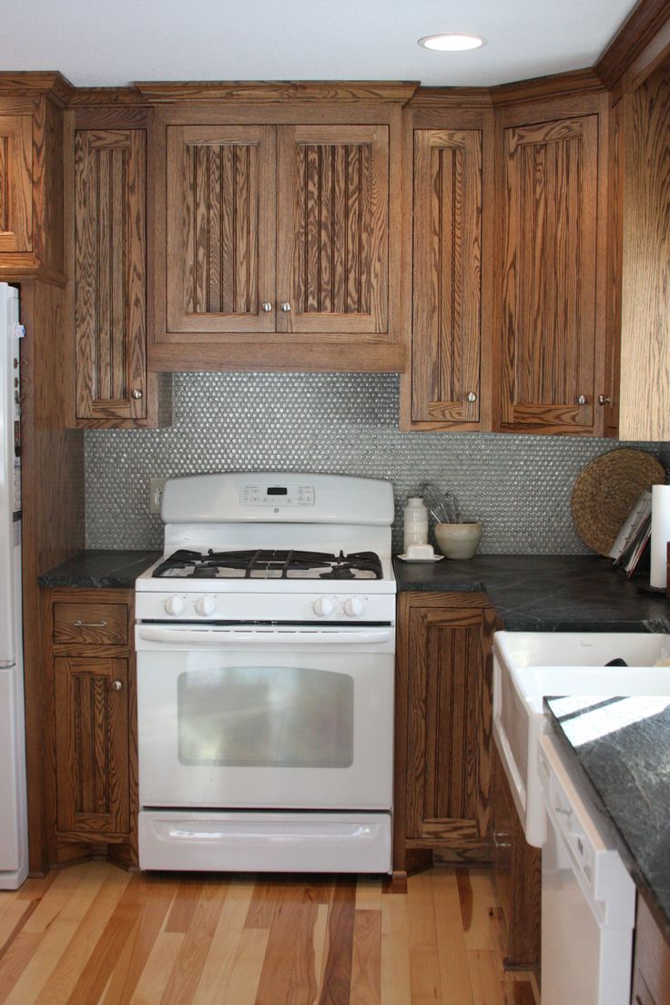 Penny Tile Backsplash Rustic Kitchen Oak Bead Board