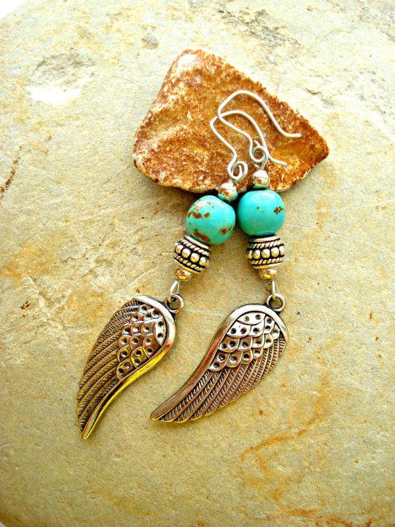 Boho Earrings  Boho Jewellery  Silver Wing by HandcraftedYoga, $26.00