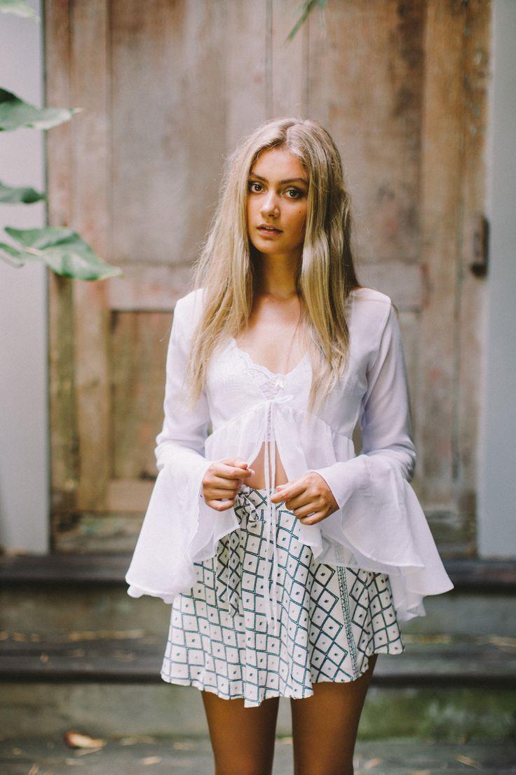 Selene Sheer Blouse / Leila wrap skirt