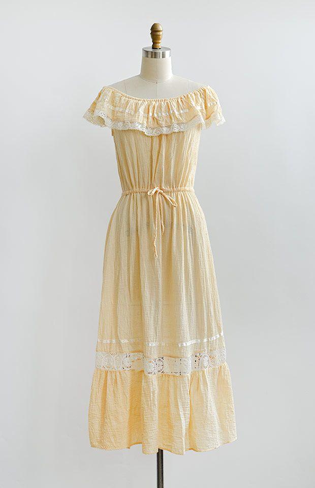 vintage 1970s light apricot boho off shoulder dress