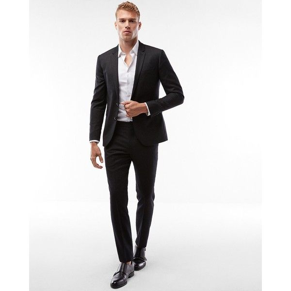 Express Extra Slim Charcoal Stripe Wool Blend Suit Pant ($148) ❤ liked on Polyvore featuring men's fashion, men's clothing, men's pants, men's dress pants, grey, mens suit pants, mens slim fit dress pants, mens skinny pants, mens charcoal dress pants and mens pants