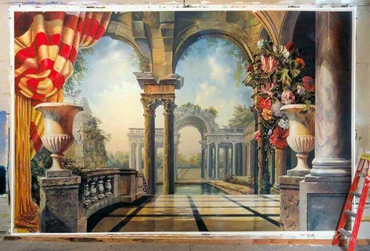 Best 38 Trompe l\u0027oeil images on Pinterest Murals, Wall murals and