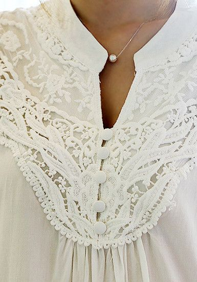 Crochet Floral Blouse - White - Five Buttons At Front Blouse