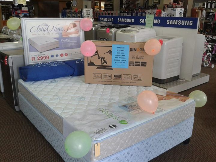 Get down to Herholdts Middelburg and buy any Cloud 9 bed and stand a chance to win a 32'' led tv.We currently have a Cloud 9 Firmflex double base set @ R2999.00.Plus remember if you buy for R2000.00 or more you stand a chance of winning the chev spark.