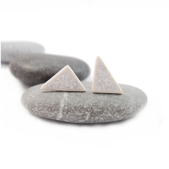 White summer triangles ceramic studs- mini, ceramic earrings ,surgical steel, crackle on Etsy, £12.69