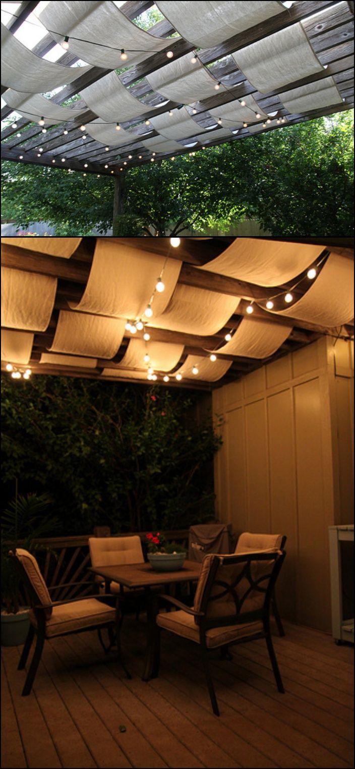 10 Creative DIY Outdoor Shady Space Ideas----DIY drop cloth fabric shade cover