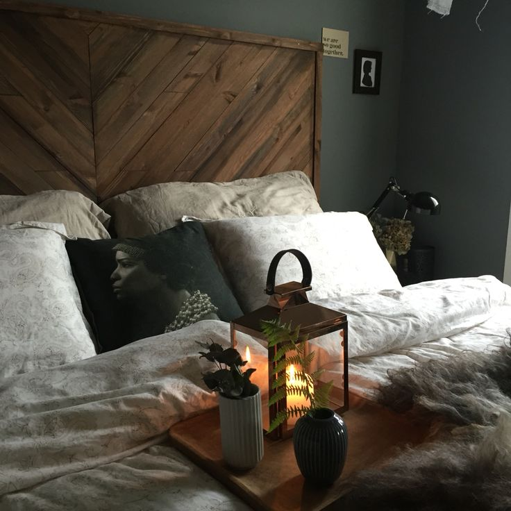 Diy headboard. Walls painted with  Pigeon grey from Pure & Original