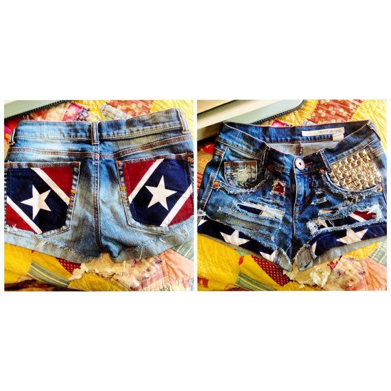 Rebel Flag Cutoff Denim Shorts. Stars Stripes by DesignedByTwo