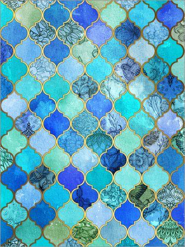 Micklyn Le Feuvre - Cobalt Blue, Gold Moroccan Tile Pattern