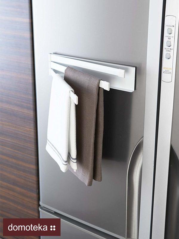 Magnetyczny wieszak na ścierki to dobry pomysł na utrzymanie porządku w kuchni. Ścierki mają swoje miejsce i wiszą pod ręką. Wieszak posiada trzy drążki, na których można zawiesić ścierki, a nawet fartuszek kuchenny. Qforma inspiruje.