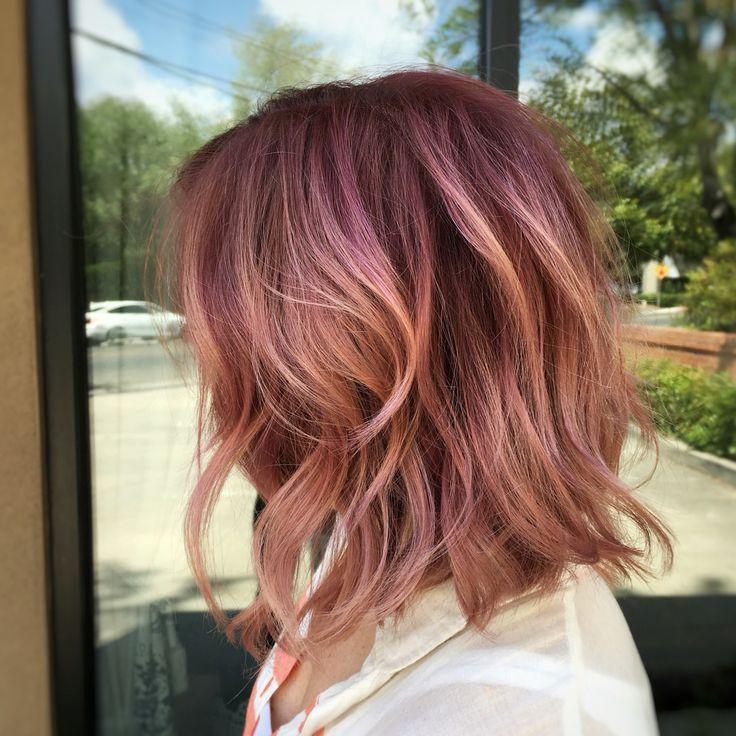 Pink hair, Rose Gold, Rooted, balayage, Bob, Lob, texture, beach waves, loose waves,