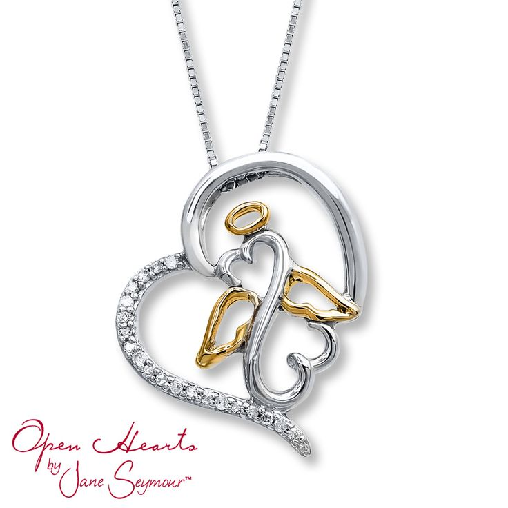 From Open Hearts by Jane Seymour®, this sentimental necklace for her features a heart surrounding an angel design with the iconic Open Hearts symbol at the center. The pendant is styled in sterling silver with accents of 10K yellow gold and shimmering diamonds. The pendant glides along an 18-inch box chain that secures with a lobster clasp. Diamond Total Carat Weight may range from .04 - .06 carats.