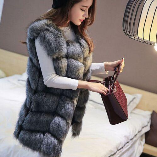 S-4XL Female Fur Waistcoat 2016 New Winter Warm Faux Fox Fur Vest Women High-Grade Cappa Fashion O-Neck Long Fur Coat Cardigan