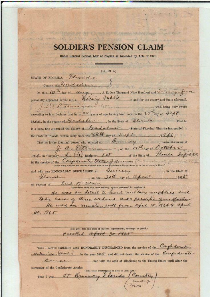 WHITFIELD, Benjamin H Ancestors Civil War Pension Application - pension service claim form