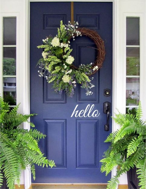 Hello Decal, Hello Front Door Decal, Hello Sticker, Hello Vinyl Door Decal, Hello Front Door Sticker, Door Decals, Outdoor Decal, Storm Door  This fun Hello decal measures 4 inches high x 20 inches wide and is available in any of our 13 colors.  -Item ships within 3-5 Business Days (Monday-Fr...