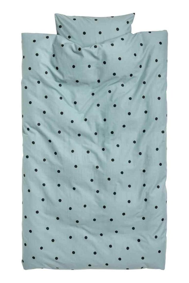 Spotted duvet cover set - Light turquoise/Black spotted - Home All | H&M GB 1