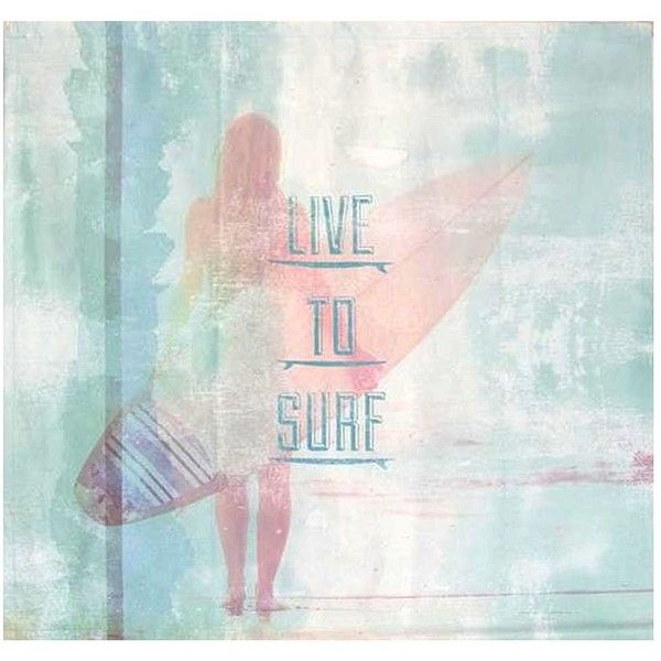 PB Teen Live To Surf Wall Mural At Pottery Barn Teen   Wall Decor  ...  ($79) ❤ Liked On Polyvore Featuring Home, Home Decor, Wall Art, Surf Home  Decor, ... Part 86