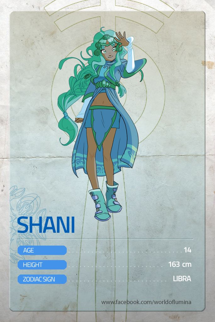 "Let's celebrate the start of Lùmina's indiegogo campaign (http://igg.me/at/worldoflumina/) with a sunny character! This week it's SHANI's turn!  __ Shani is a young herbalist of the tribe of Lùmina. She's got ca_ramel-colored skin and a sunny and ""spakling"" personality, she's always full of energy and as curious as a cat. She often lets her instinct to guide his actions, but she changes her mind every two minutes. She's absolutely sincere. She loves her Fruff."