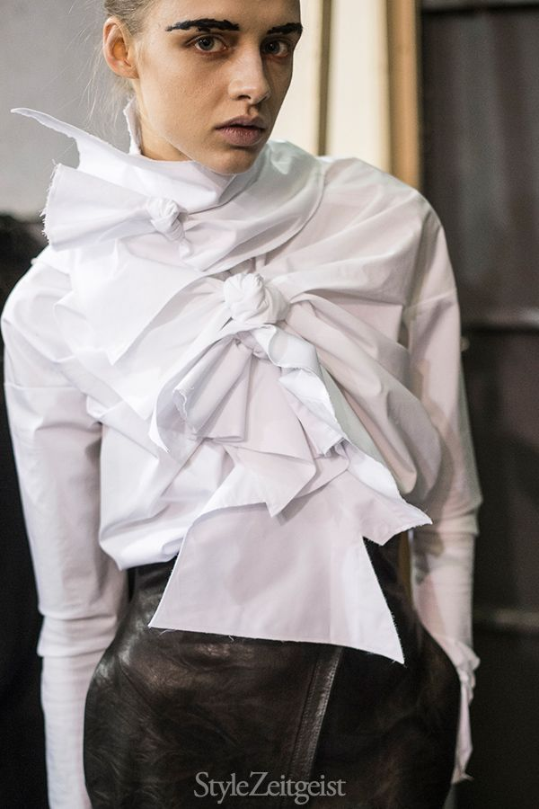 White shirt deconstructed; contemporary fashion details // Aganovich Fall 2016