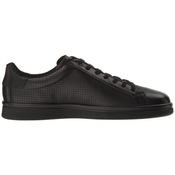 ECCO Kallum Premium Sneaker (Black) Men's Lace up casual Shoes (455 PEN) ❤ liked on Polyvore featuring men's fashion, men's shoes, men's sneakers, mens breathable shoes, mens shoes, mens lace up shoes, ecco mens shoes and mens black shoes