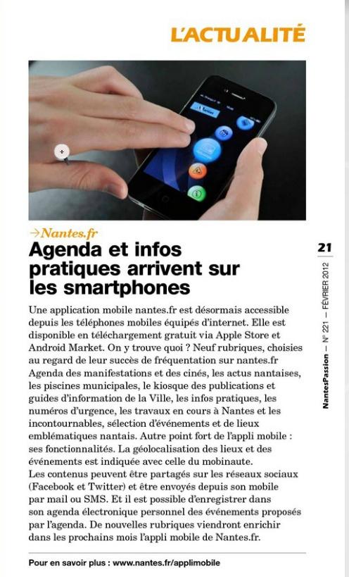 """Applications mobiles """"Ville de Nantes"""" (Réalisation www.imagescreations.fr)"""