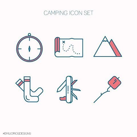 Camping Icon Set. Which one is your favorite? #EmilioRiosDesigns…