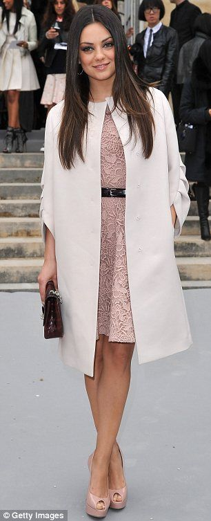 Thinking of styling the pink lace dress similar to this with a skinny, studded, black leather belt and wooden heeled, strapy black shoes.