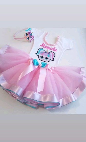 0511b4bcc8cc Fantasia Infantil Tutu LOL Surprise Luxo c/ Tiara | bordado ...