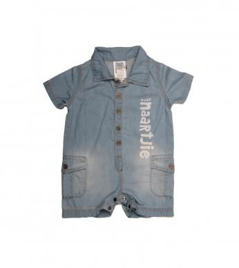 A denim button-up romper with Naartjie print and pockets.