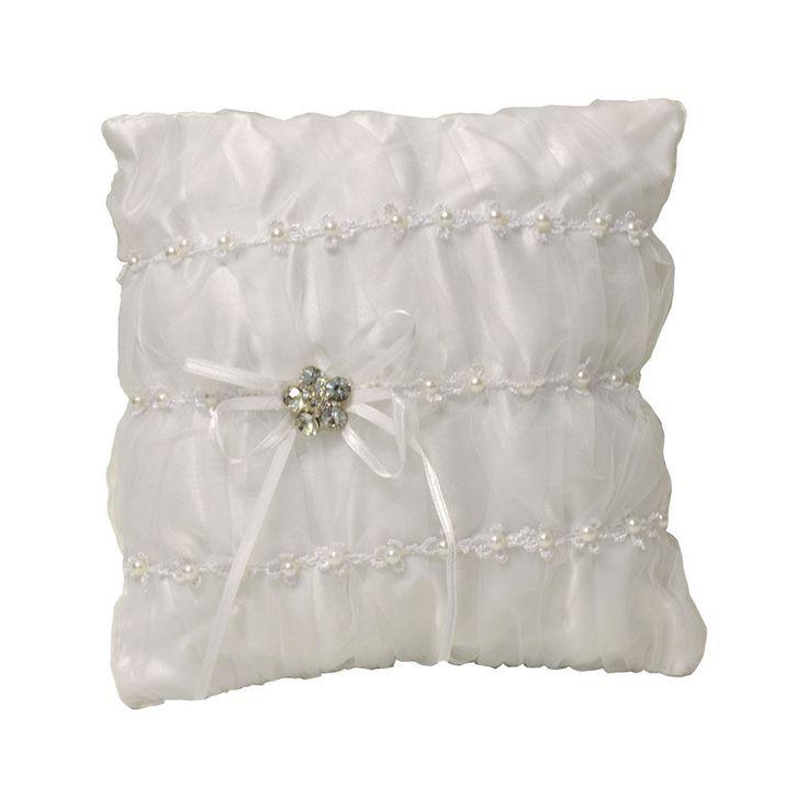 Cuscino fedi raso e organza colore bianco con perle e strass (CB) #cuscino #portafede #matrimonio #nozze