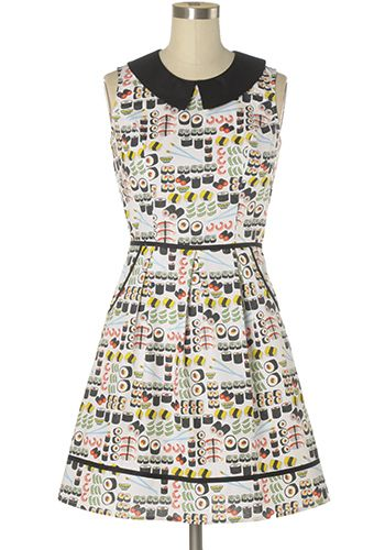 LIMITED QUANTITY! Super cute off-white dress with yummy sushi prints. Peter pan collar. Hip pockets. Back zipper. 100% cotton Not stretchy Not lined Hand wash cold; hang dry Women's Vintage-Style Dresses & Accessories - Canada Chef's Special Dress -