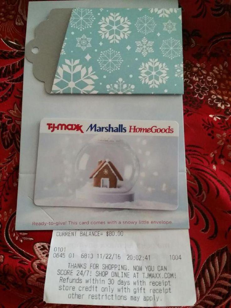 TJ MAXX, MARSHALLS, HOMEGOODS GIFT CARD $80, No Exp, Free Ship & NIKE GIFT
