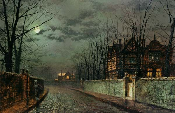 Image result for john atkinson grimshaw OLD ENGLISH HOUSE, MOONLIGHT AFTER RAIN