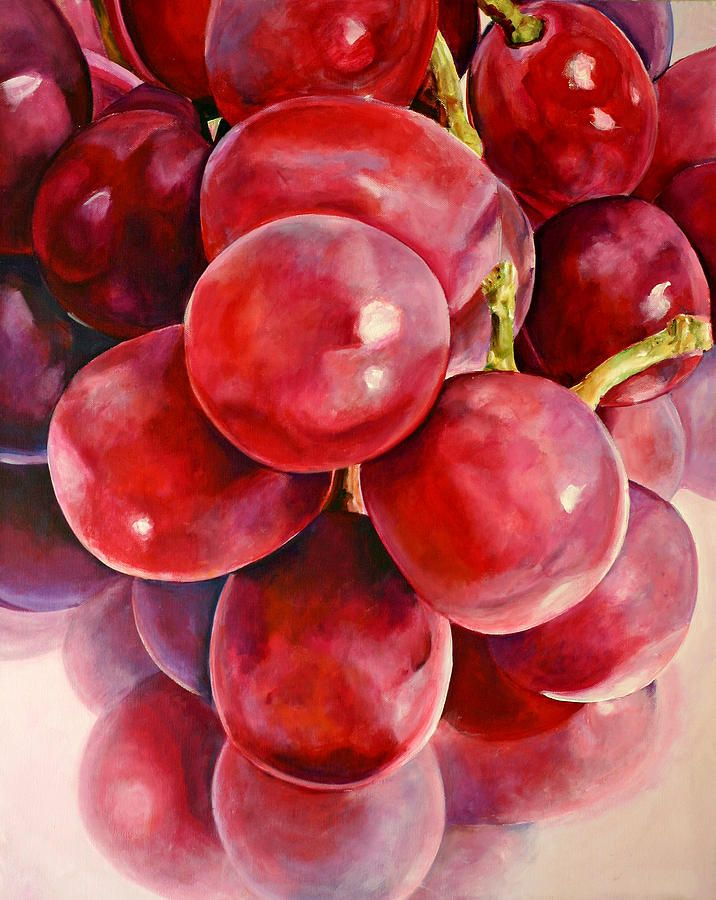 Red Grape Reflections Painting by Toni Grote