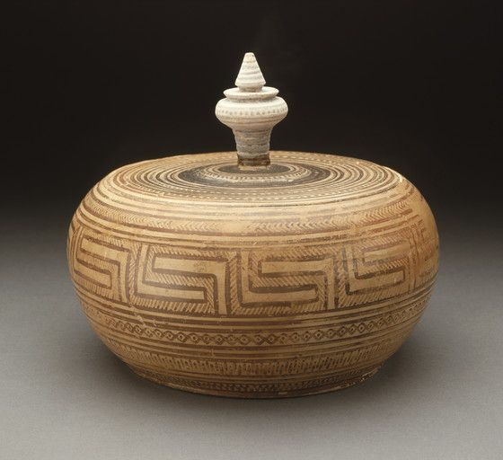 Ceramic Attic geometric-lidded pyxis. Greece, Athens. 800-760 B.C. | Los Angeles County Museum of Arts Collections