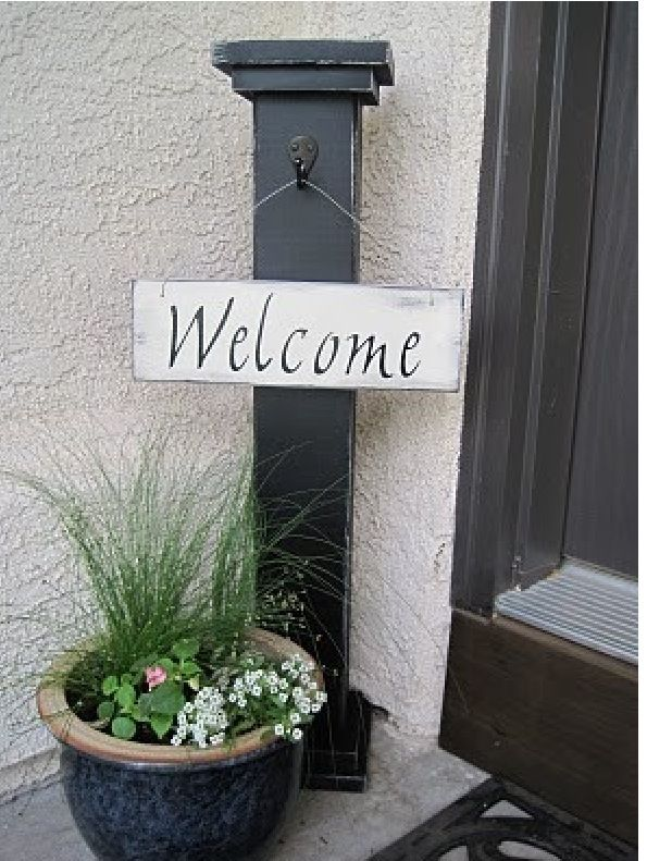 Paint a post.  Change signs for different occasions and seasons.