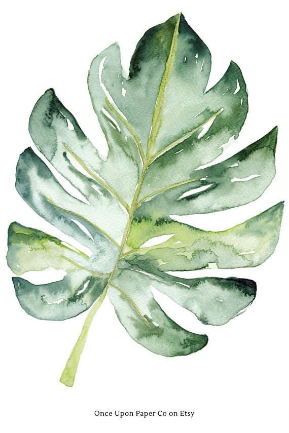 Watercolor Leaf Plant Print Monstera Wall Art Digital Print
