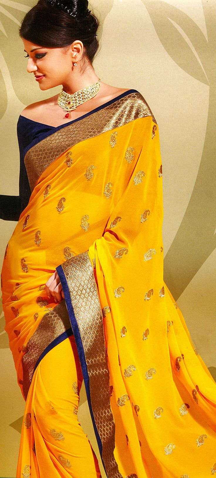Spectra-Yellow Designer Sari with Metallic-Thread Embroidered Paisleys and Patch Border