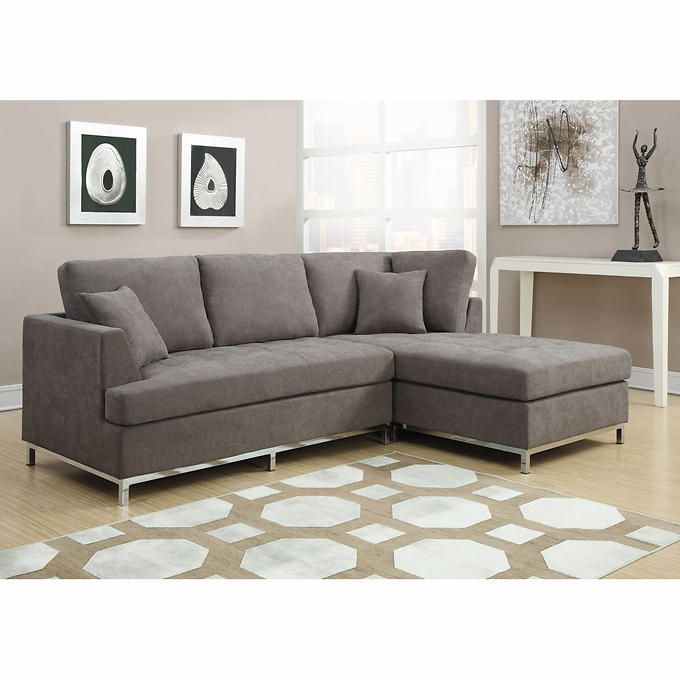 Valeria Fabric Sectional Living Room Set CharcoalMicrofiber Matching PillowsPowder Coated Metal Trim LegsLoose Back Reversible Cushions