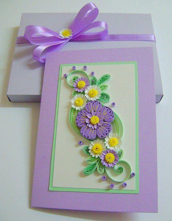 Квиллинг открытка девочке