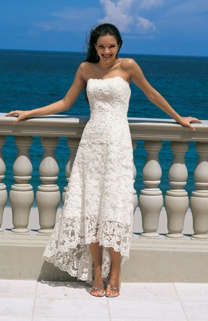 I know you're still going formal...but this is too cute not to pin!    Hawaiian Sleeveless A-line Outdoor Tea Length Zip up Bridal Gown
