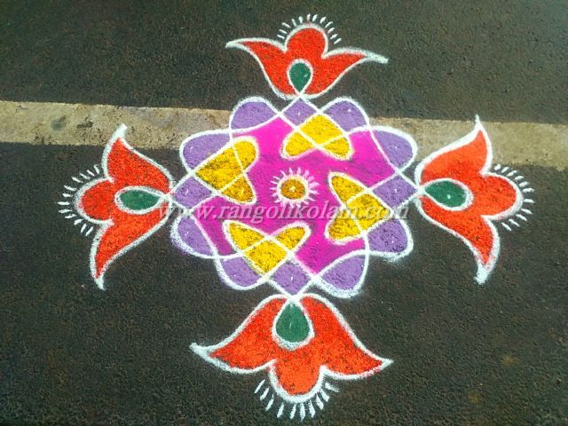 7-1 simple dotted kolam with nice colour combinations