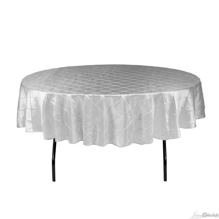 90 In. Round Pintuck Tablecloth In Silver At LinenTablecloth