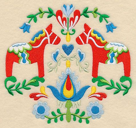 Swedish Folk Art - Dala Horse design (L3752) from www.Emblibrary.com