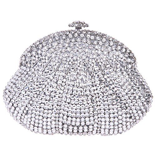 Fawziya Calabash Shaped Evening Bags For Women Rhinestone Crystal Clutch Bag-Silver Purchase FAWZIYA evening bag,relieve your worries!Fawziya is a registered trademark. Note:Due to differences between monitor displays,actual color may vary slightly from image.Diamonds:Fawziya use domestic grade A diamonds,12 cutting surface,a long-lasting gloss retention,one of leader in high class diamonds.Hardware:Fawziya using K Gold plating process,each hardware is carefully selected,no