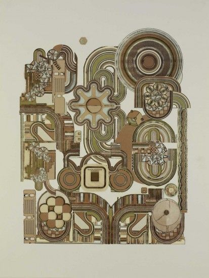 ART & ARTISTS: Eduardo Paolozzi-- Here is a great example of how elements are combined in a way in which they flow in certain directions and points of interest- great for a mural with lots of different elements.